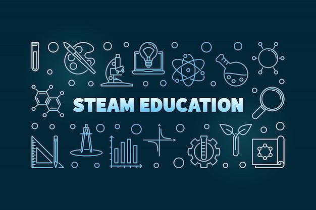 Steam концепция образования синий линейный рисунок