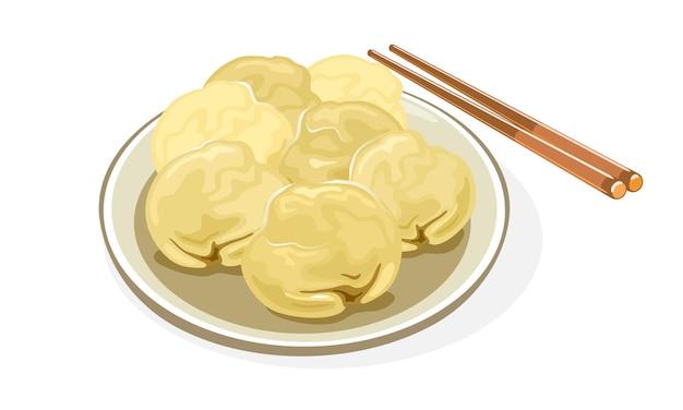 찐, 삶은, 후라이 또는 튀김 만두 또는 만두가 접시에 있습니다.