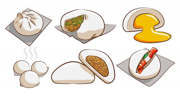 Steamed bun vector set clipart