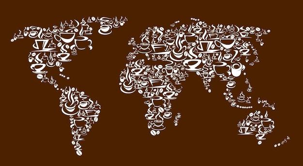 蒸しコーヒーカップ、ポット、豆のベクトルの世界地図。淹れたてのエスプレッソ、カプチーノまたはラテ、ホットチョコレートまたはマキアートのコーヒードリンクをマグカップに入れ、デミタスカップに受け皿とスチームを入れます