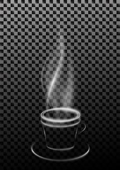 Дымящаяся чашка кофе или чая из дыма