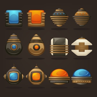 Steampunk asset for your mobile game, retro futuristic mechanical objects collection