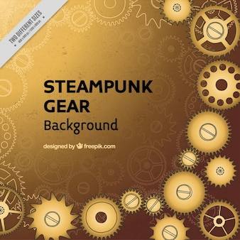 Steampunk background with golden gears