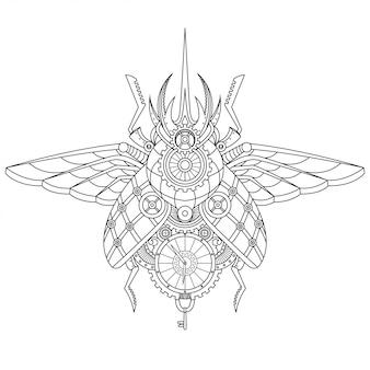 Стимпанк жук иллюстрация в линейном стиле