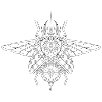 Steampunk beetle illustration in lineal style