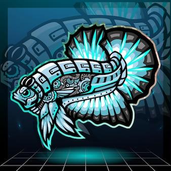 Стимпанк бетта рыба талисман киберспорт дизайн логотипа