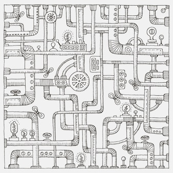 Steampunk doodle background