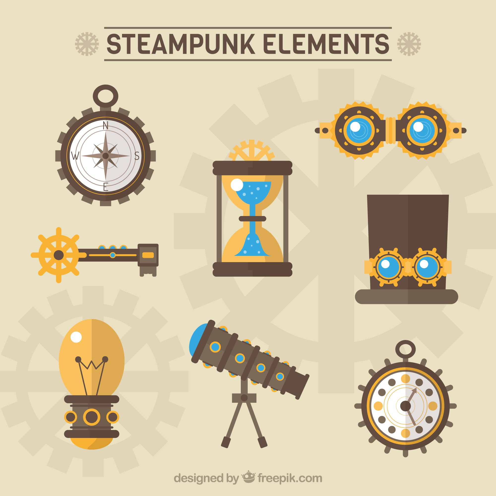 Steampunk elements pack in flat design