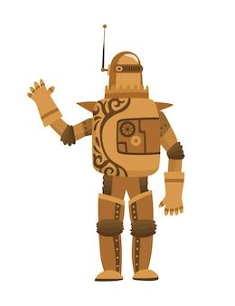スチームパンクなファッション技術、スチームパンクなロボットの衣装を着た漫画の男とファンタジーヴィンテージイラスト。スチームパンクの発明。機械要素を持つ人々のキャラクター