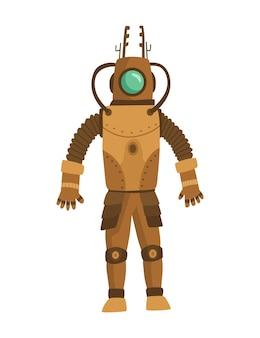 スチームパンクなファッション技術、スチームパンクなロボットの衣装を着た漫画の男とファンタジーヴィンテージイラスト。スチームパンクの発明。機械的要素を持つ人々の性格。