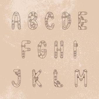 Steampunk font  a-m letters