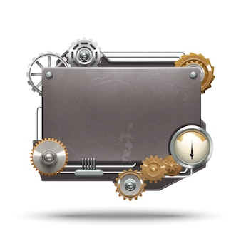 Steampunk frame in vintage style on white background