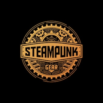 Steampunk gear badge