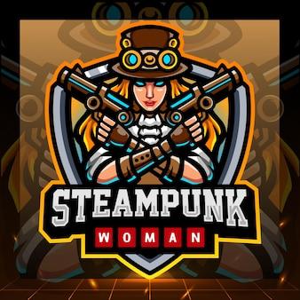 スチームパンクな女の子のマスコット。 eスポーツのロゴデザイン