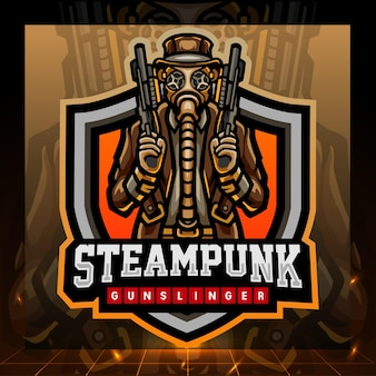 Steampunk gunslinger 마스코트 esport 로고 디자인