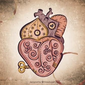 Steampunk heart background