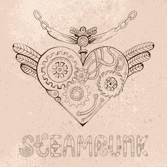 Steampunk heart doodle illustration