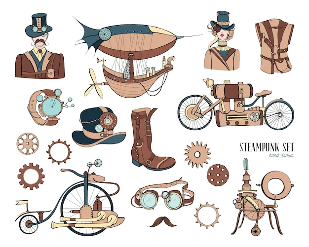 Steampunk objects and mechanism collection machine, clothing, people and gears. hand drawn vintage style illustration set. Premium Vector