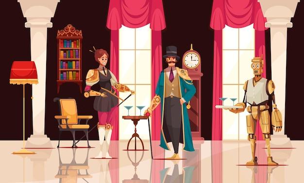 빅토리아 스타일의 만화 삽화에서 로봇 팔과 로봇 하인을 가진 스팀펑크 사람들