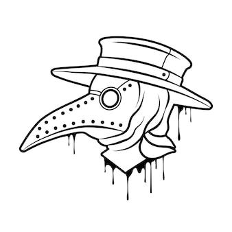 Стимпанк маска доктора чумы с клювом, иллюстрация
