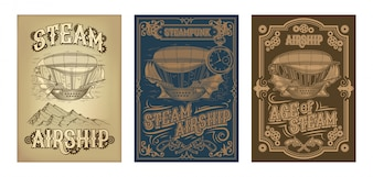 Steampunk posters with fantastic wooden flying ship