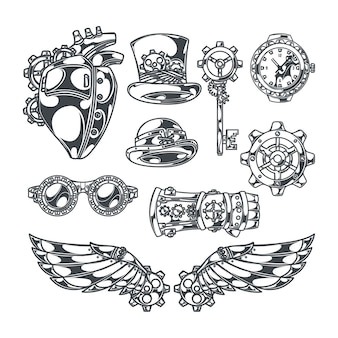 Steampunk set of isolated decorative icons with mechanical wings heart sketch style images and ribbons with text