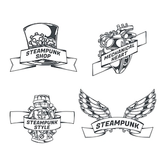Steampunk set of isolated emblems with mechanical wings heart sketch style images and ribbons with text