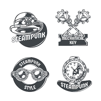 Steampunk set with four isolated emblems editable text and images of various items