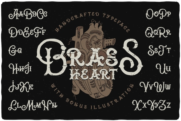 Steampunk style font set with heart drawing