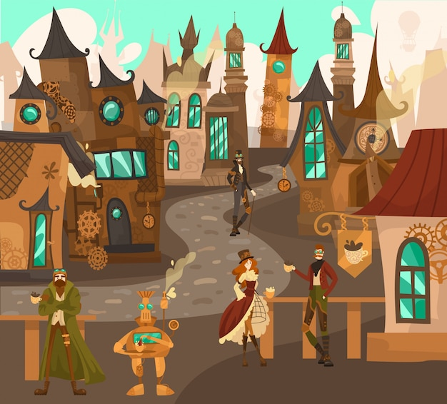 Steampunk technology characters in fairytale town with old european architecture houses, fantasy castles history of europe cartoon  illustration.