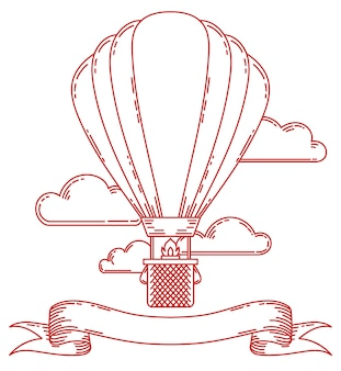 Steampunk vintage air balloon illustration