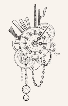 機械式チェーンと歯車を備えたスチームパンク時計