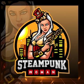 Steampunk 여자 마스코트 esport 로고 디자인