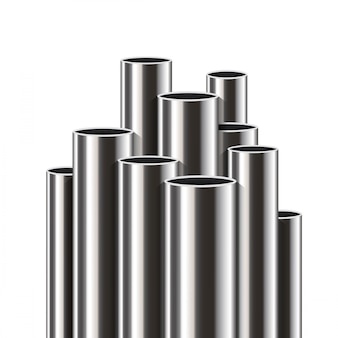 Steel, aluminum, metal pipes, stack of tube, pvc.