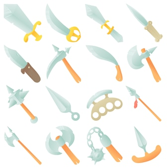 Steel arms items icons set