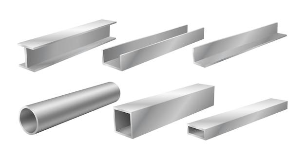 강철 빔과 파이프, 현실적인 구조 제품, 철강 산업을 위한 건축 자재 세트, 건설 건물. 벡터 일러스트 레이 션