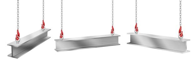 Travi in acciaio appese a catene con ganci, pezzi di trave industriale in metallo dritto per lavori di costruzione e costruzione di gru sollevamento di ferro balks isolati, insieme realistico di vettore 3d