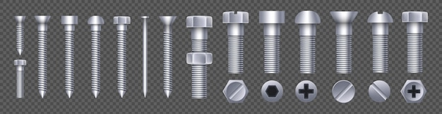 Steel brass bolt, metal screw, iron nails, rivets.