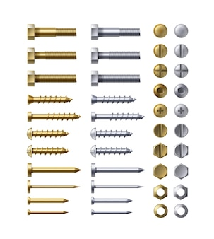 Steel and brass bolts, nails and screws on white background.