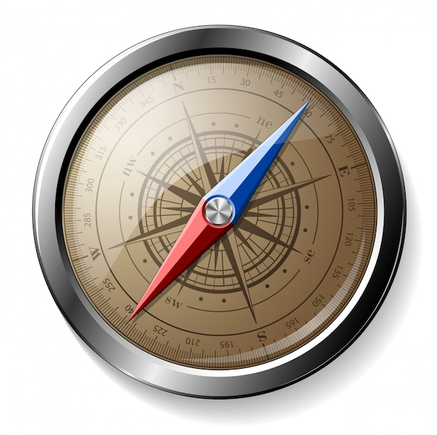 Steel detailed compass isolated
