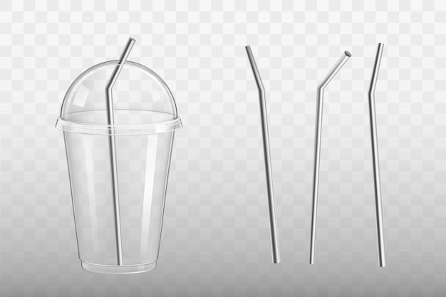 Steel drinking straw in plastic glass vector