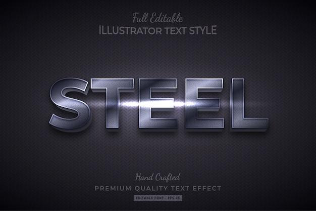 Steel editable 3d text style effect premium