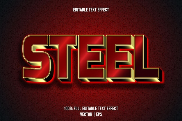 Steel editable text effect 3 dimension emboss luxury style