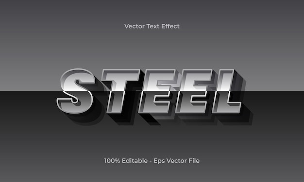 Steel editable text effect with glossy gradient