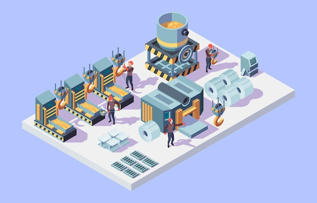 Steel factory. foundry metallurgy processes in factory interior isometric workers vector
