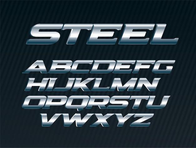Steel font, metal letters set, chrome alphabet