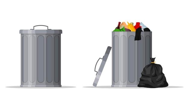 ゴミ箱と蓋を閉めた容器でいっぱいのスチール製ゴミ箱