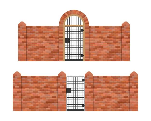 白い背景で隔離のレンガフェンスの図と鋼鉄門