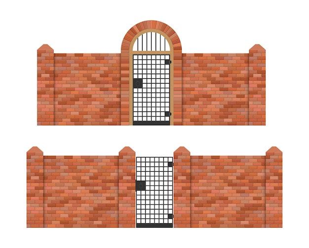 Steel gate with brick fence  illustration isolated on white background