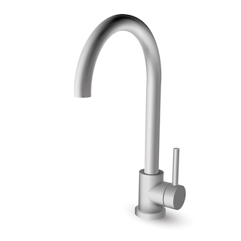 Steel kitchen sink pull down faucet with one handle - illustration